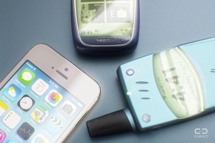 Vechile telefoane cu ecran alb-negru în concepția unui designer 3D