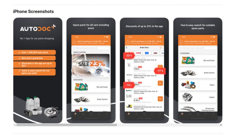 Cumpara piese auto direct din aplicatia Autodoc